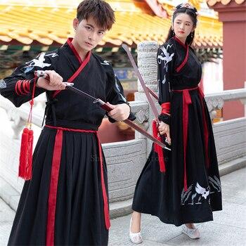 Chinese Traditionsl Dress Hanfu Women Men Crane Embroidered Top Coat Kimono Cardigan Couple Clothes Unisex Oriental Swordsman