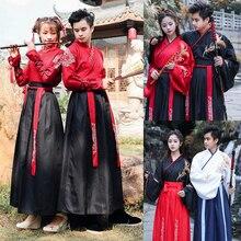 Год для взрослых мужчин и женщин Древние китайские национальные костюмы Hanfu фестиваль сценическое народное танцевальное платье наряд с вышивкой