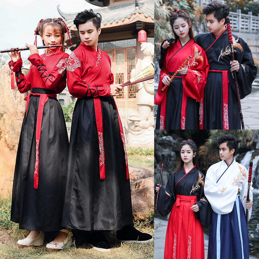 New Year Adult Men Women Ancient Chinese National Costumes Hanfu Festival Stage Performance Folk Dance Dress Embroidery Outfit
