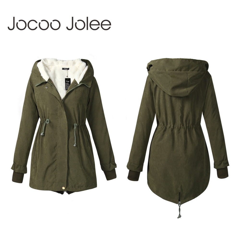 Jocoo Jolee Women Winter   Parkas   Fashion Mid Long Wadded Coat Female Hooded Thick Cotton Warm Jacket Overcoats Plus Size 5XL