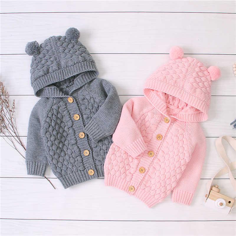 2019 เด็กเสื้อผ้าฤดูใบไม้ร่วงฤดูหนาวทารกแรกเกิดเด็กสาว Hooded เสื้อกันหนาว 3D ลายสก๊อตผ้าขนสัตว์ถักเสื้อเด็ก Outwear 0-24M
