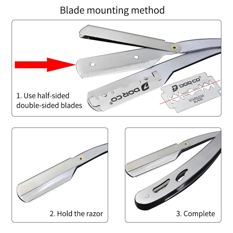 Image 3 - Men Shaving Barber Tools Hair Razor and Blades Antique Black Folding Shaving Knife Stainless Steel Straight razor Holder-in Razor from Beauty & Health