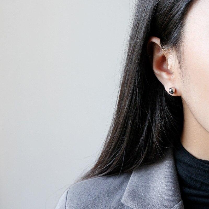 S'STEEL Concise Bead Stud Earrings For Women Minimalist Sterling Silver Earring Pendientes Plata De Ley 925 Mujer Fine Jewelry