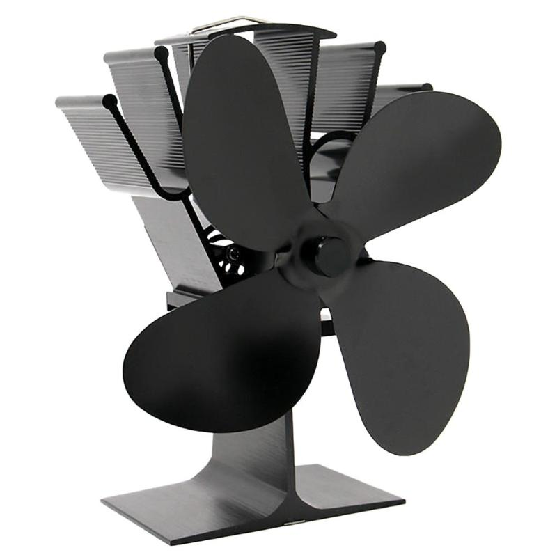 Heat Powered Stove Fan Aluminum Heat Sink 4/5 Blades Burner Cooking Stove Low Noise Efficient Fireplace Fan Home Device