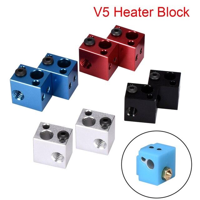 V5 Heater Block Aluminum Block V5 Silicone Sock 3D Printer Parts VS E3D V6 Block Fit J-head Hotend Bowden Extruder To Thermistor