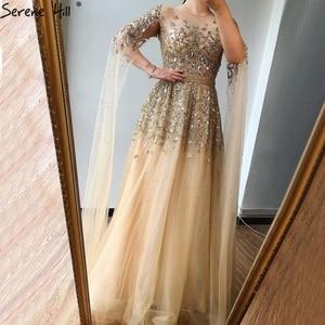 Image 4 - דובאי זהב יוקרה O צוואר סקסי ערב שמלות 2020 פאייטים קריסטל עם כובע שרוולים פורמליות שמלת Serene היל LA70454