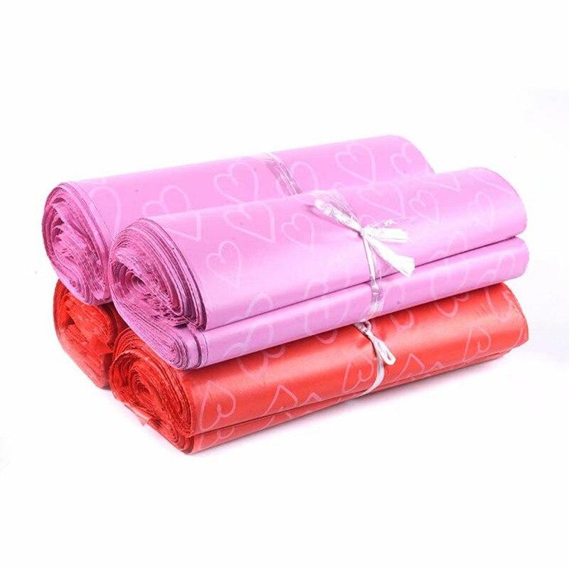 50 шт./лот, курьерские пакеты larg, матовый самоклеящийся пакет с рисунком розового сердца, матовый материал, конверт, почтовый пакет для отправ...