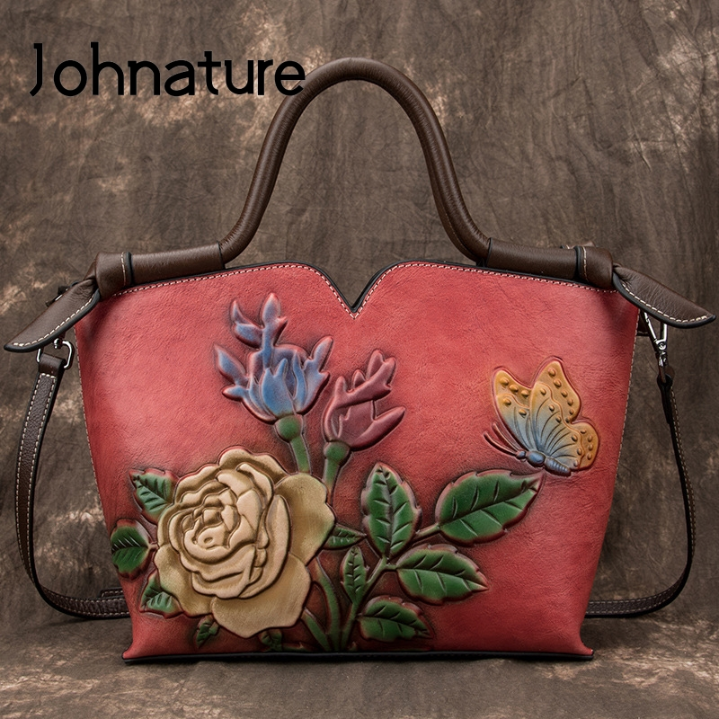 Johnature Retro Simple Large Capacity Genuine Leather Luxury Handbags Women Bags 2020 New Floral Cowhide Shoulder&Crossbody Bags