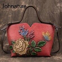 Johnature Retro Simple Large Capacity Genuine Leather Luxury Handbags Women Bags 2020 New Floral Cowhide Shoulder&Crossbody Bags