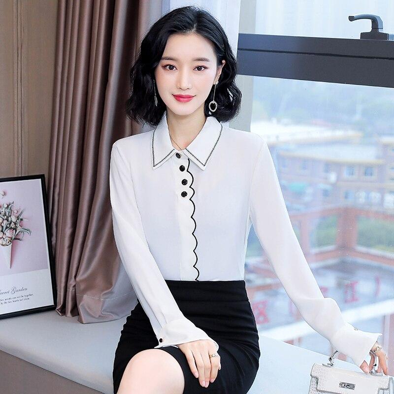 Korean Chiffon Shirts Women White Long Sleeve Shirt Tops Plus Size Woman Embroidered Shirts Blouse Blusas Mujer De Moda 2020 XXL
