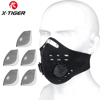 X-TIGER Cycling Face Mask PM 2.5 Bike Mask Activated Carbon Breathing Valve Sports Masks With Anti-Pollution Filter 24