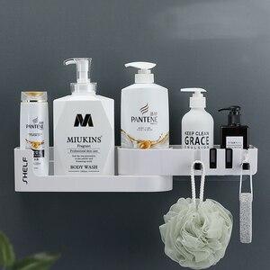 Image 2 - Bathroom Shelf Corner Shelves Shampoo Holder Kitchen Storage Rack Mess Shower Organizer Wall Holder Space Saver Household Items