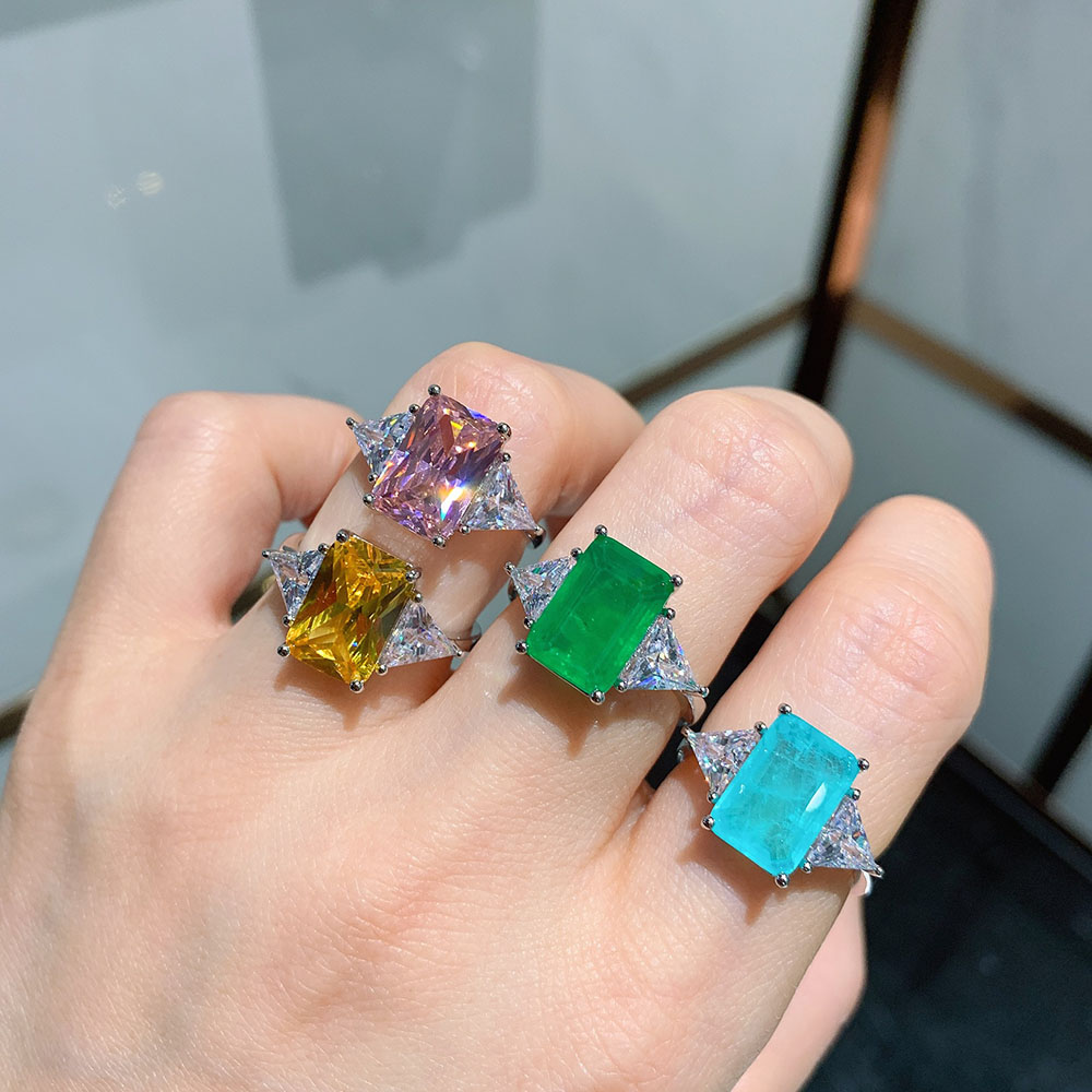 KNRIQUEN 8*12MM Paraiba Tourmaline Topaz Emerald Quartz Gemstone Rings for Women 925 Sterling Silver Wedding Bands Fine Jewelry