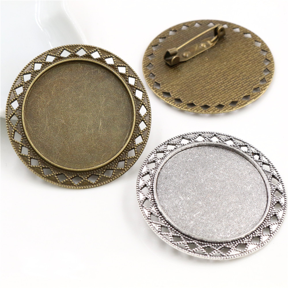 New Fashion 5pcs 35mm Inner Size Antique Bronze And Silver Plated Brooch Style Cabochon Base Setting Charms Pendant