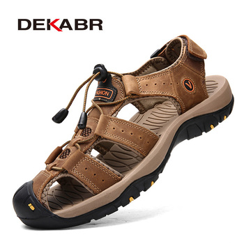 DEKABR Fashion Man Beach sandały letnie Gladiator męskie buty outdoorowe Roman mężczyźni obuwie klapki duże rozmiary 46 kapcie tanie i dobre opinie Prawdziwej skóry Skóra bydlęca Podstawowe Stretch Spandex Moda RUBBER Gumką Niska (1 cm-3 cm) Pasuje prawda na wymiar weź swój normalny rozmiar
