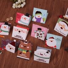 New Year Mini Cartoon DIY Christmas Greeting Cards Gift Xmas Message Postcard with Envelope Random Pattern 8pcs/lot