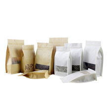 50 pçs/lote resealable kraft sacos zip saco de embalagem janela fosco levantam-se malotes à prova dwaterproof água zíper sacos lanche chá embalagem