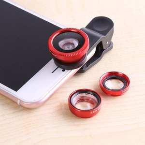 Camera-Lens-Kit Fish-Eye-Lenses Mobile-Phone Wide-Angle Macro Universal Portable 3-In-1
