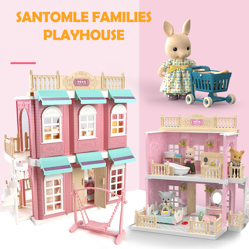 Japan Forest Sylvania Animal Bunny Bear Squirrel Koala Families Dollhouse Bedroom Kitchen Bus Bakery Shop Duplex Children Gift
