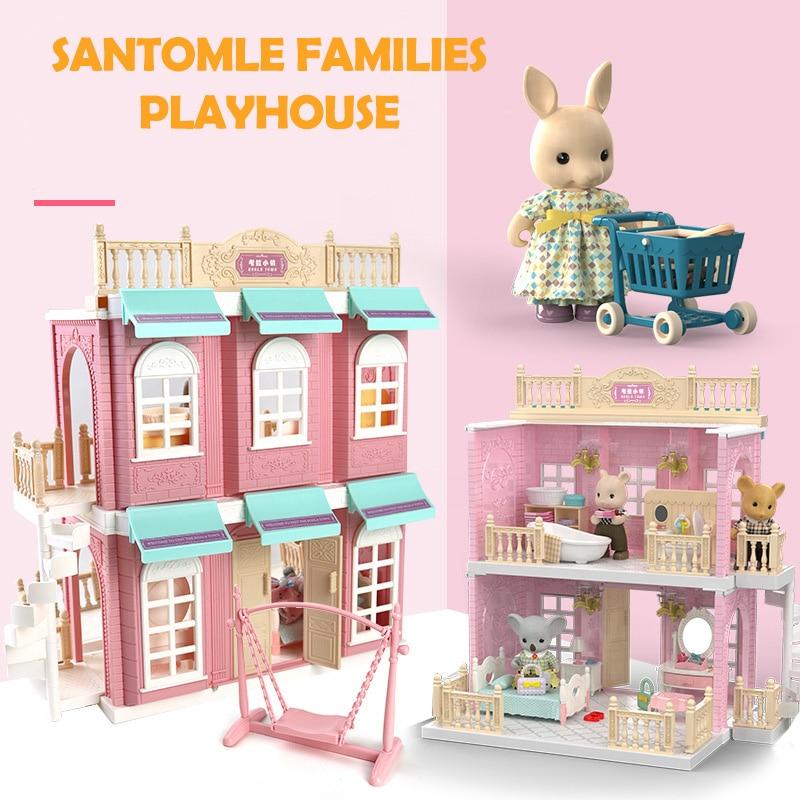 Japan Forest Sylvania Animal Bunny Bear Squirrel Koala Families Dollhouse Bedroom Kitchen Bus Bakery Shop Duplex Children Gift