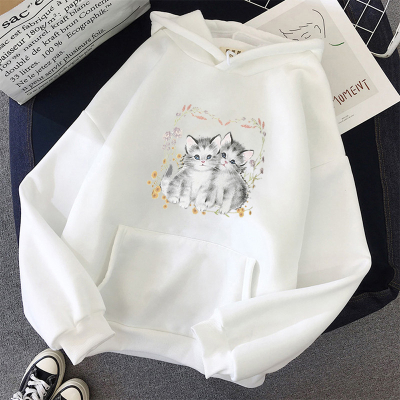 Kawaii oversize Hoodies Female Itself Winter Full Sleeve harajuku korean style plus size Cute cat Print Sweatshirt Women tops 1