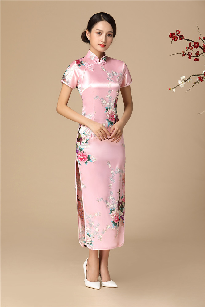 Pink Young Lady Cheongsam Dress For Women Print Flower&peacock Sexy Qipao Slim Tight Chinese Dresses Large Size 3XL 4XL 5XL 6XL
