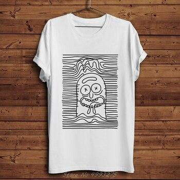 Camiseta divertida de diseño de línea de pepinillo Rick, camisetas para hombres, novedad de verano, camiseta blanca informal con cuello redondo, camiseta guay de Rick Morty