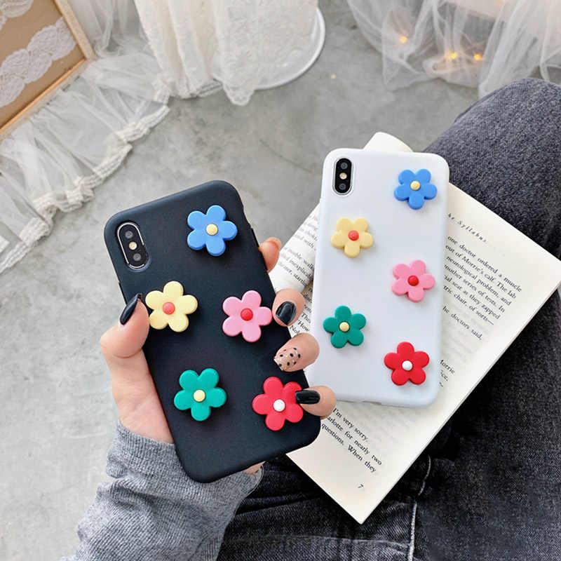 SUYACS 3D Hoa Nhỏ Tươi Dành Cho iPhone XR XS MAX X 6 6S 7 8 Plus Kẹo Màu Sắc đáy Mềm TPU Lưng Điện Thoại Ốp Lưng Coque