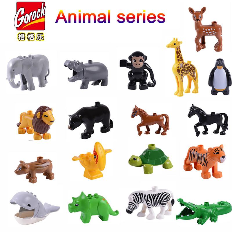 Big block Animal Model Figures big Building Block  Elephant  Horse kids educational toys Gift Brinquedos Compatible All Brands
