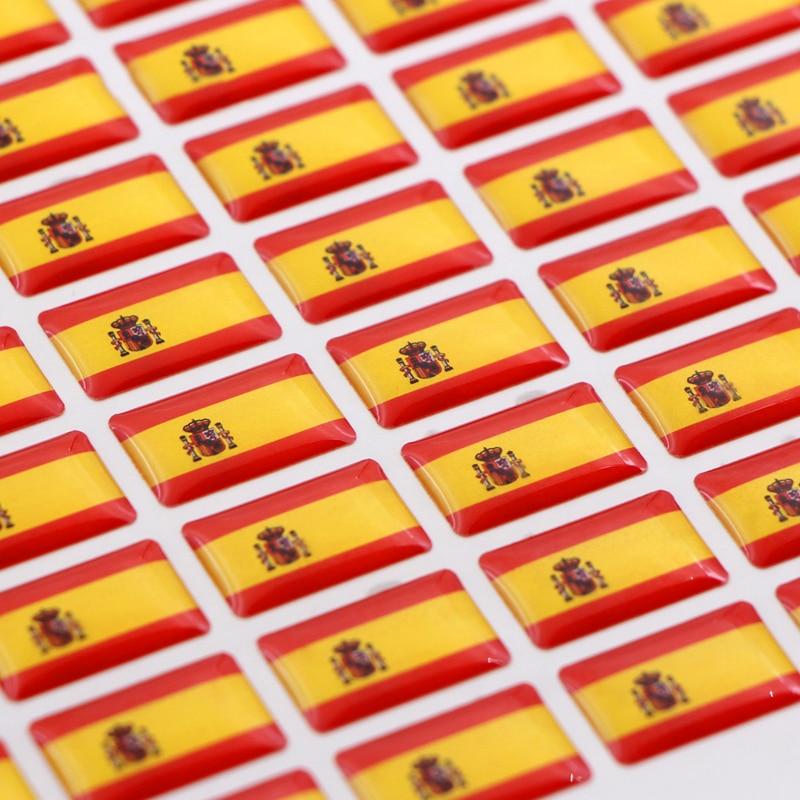 50pcs Car Spain Style Flag Badge Sticker For Skoda Audi BMW Seat Peugeot Renault Opel Toyota Honda Mazda Alfa Lada Accessories