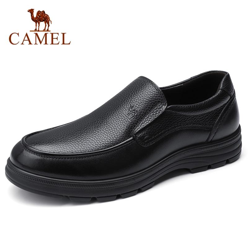 CAMEL Men's Shoes Summer Leather  Men Business Casual Big Scalp Cowhide Sets Dad Shoes Non-slip Elastic Resistant Shoes Men