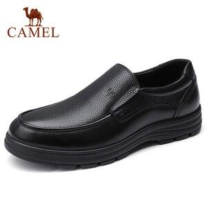 Image 1 - Deve erkek ayakkabıları yaz deri erkek iş rahat büyük kafa derisi inek derisi setleri baba ayakkabı kaymaz elastik dayanıklı ayakkabı erkekler
