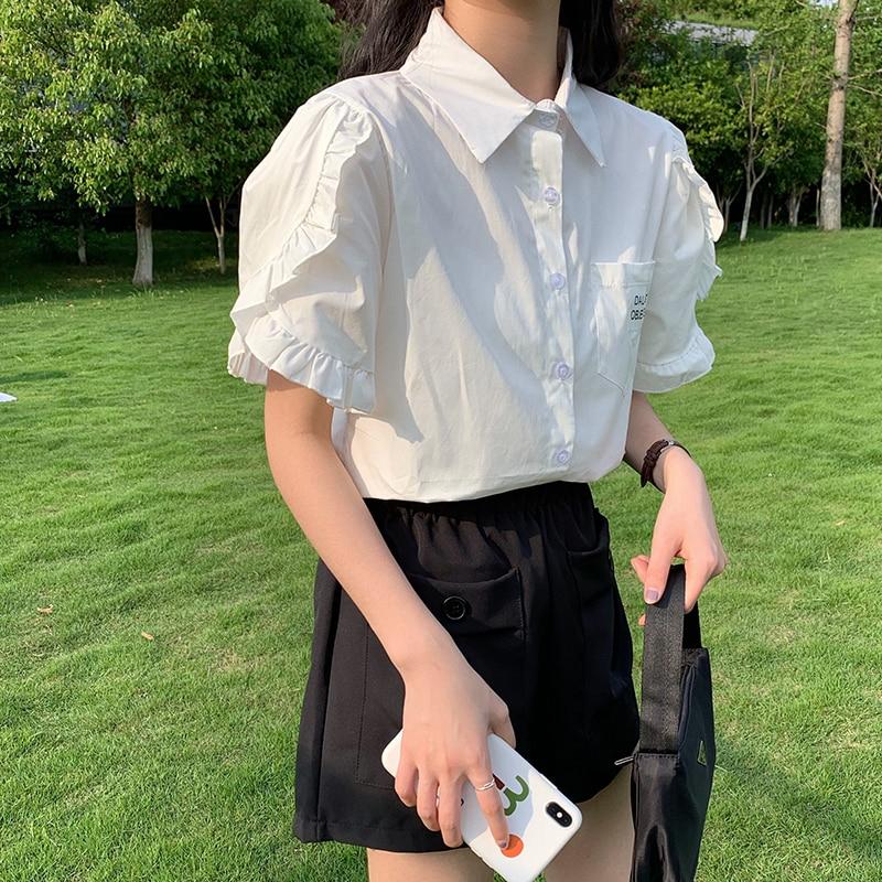 Korean Students Summer Style Female Short Sleeved Shirt Women Ruffled Sleeve White Top Blouses