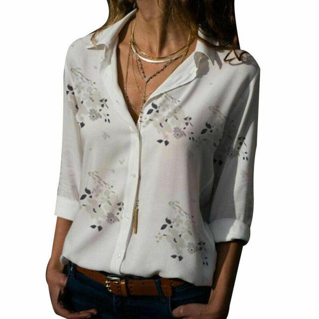 Plus size Autumn hot sale Temperament commute Women's Long Sleeve Casual Loose Tops Ladies Plain Button Blouse Shirts 5