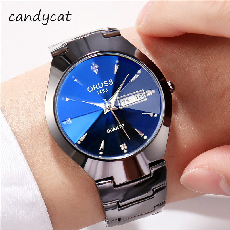 CandyCat Men Strip Quartz Watch Business Luminous Waterproof Couple Watch Shuang Ri Li Leisure Ms. Couple Watch Mechanical Clock
