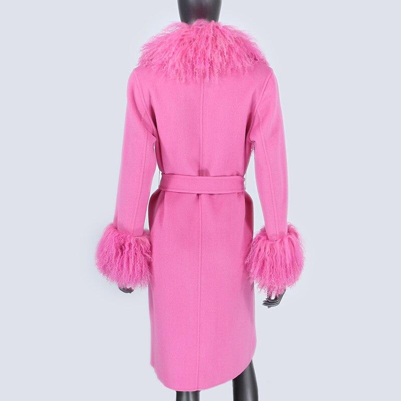 H50ebddfcb8f84660b04ceba5372e1bdc0 2021X-Long Natural Mongolia Sheep Real Fur Coat Autumn Winter Jacket Women Double Breasted Belt Wool Blends Overcoat Streetwea