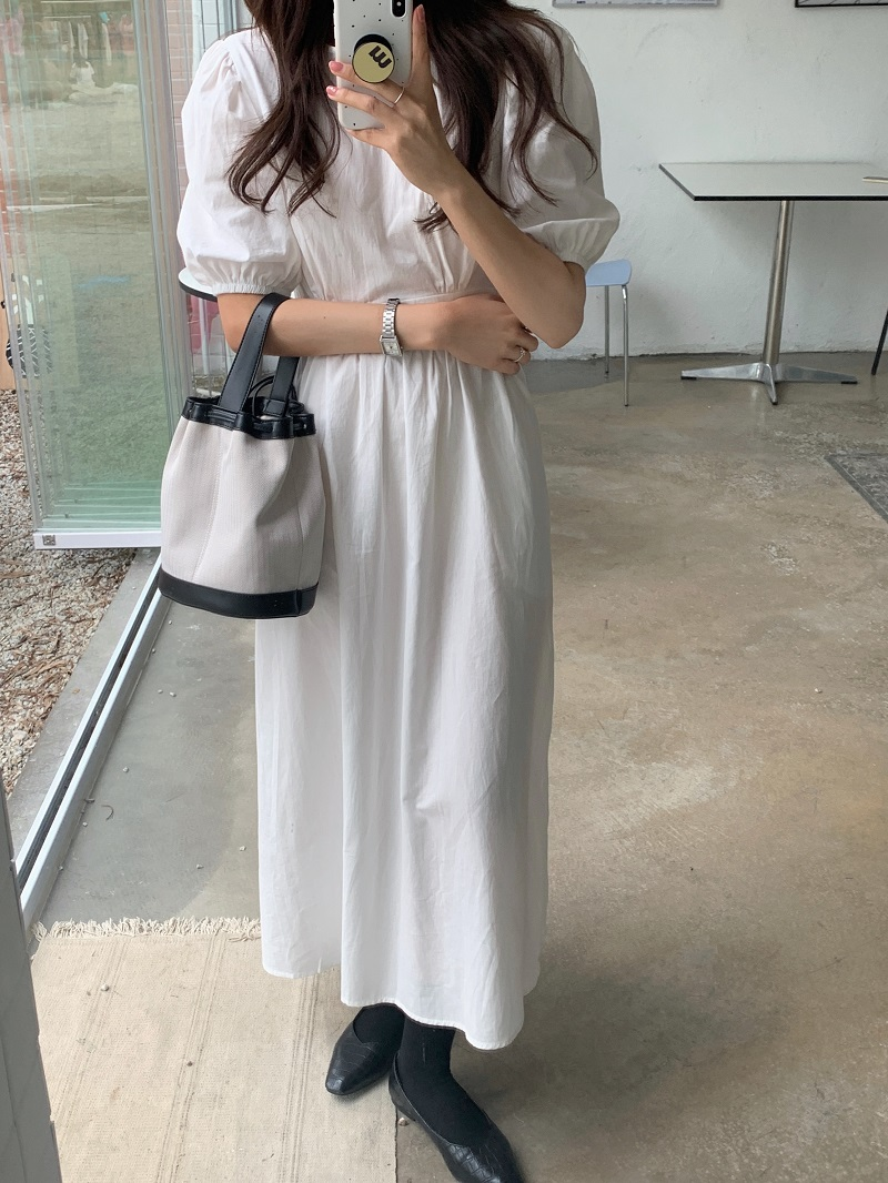 H50ebe2dcb6ae456d91b6806a2aaabc41O - Summer O-Neck Short Sleeves Elastic-Waist Calf Length Solid Dress
