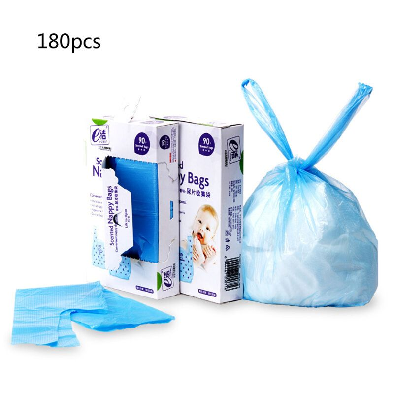 Diaper Rubbish Bag garbage bag baby Eco Disposal Nappy Bags With Tie Handles -2 x Packs of 90 (Total 180 Disposal Bags) image