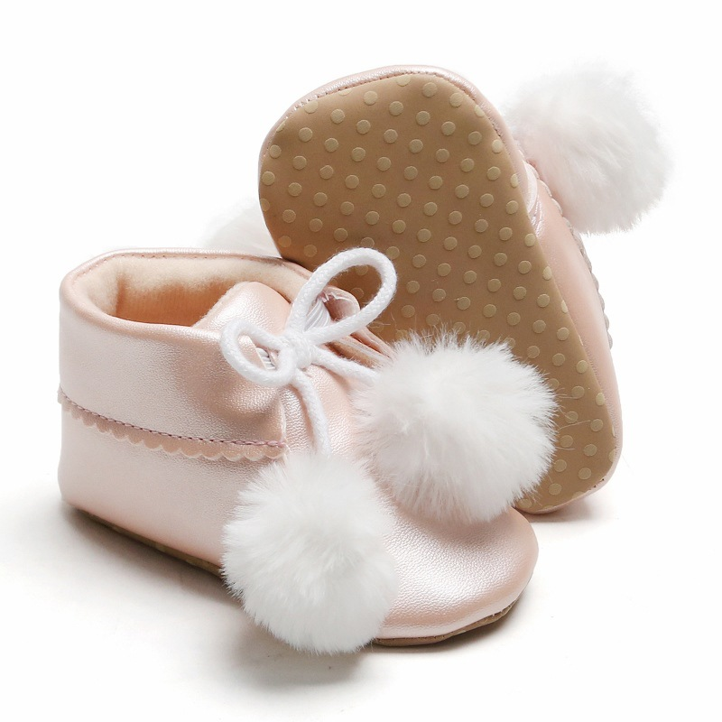 0-12M Fashion Autumn Winter  Children Casual Leather Boots Baby Girls Plush Ball Decor PU Shoes Walking Shoes