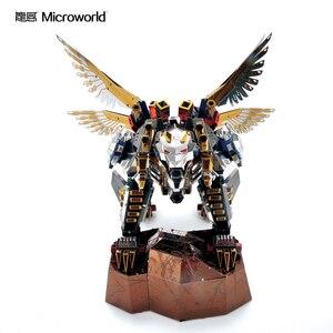 Image 1 - Microworld 3D מודלים נמר מעופף דגם DIY לייזר חיתוך פאזל לוחם דגם 3D מתכת פאזל ילדים צעצועים למבוגרים מתנות