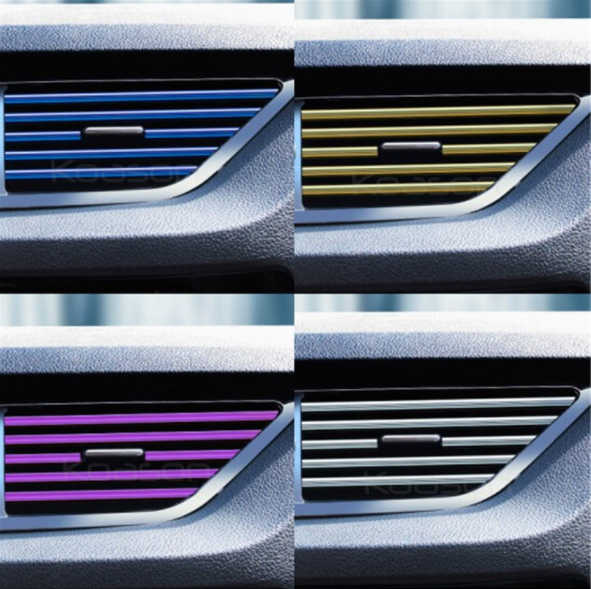 Car styling plating Air outlet trim strip Interior Air Vent Grille Switch Rim Trim Outlet Decoration Strip 10pcs pack