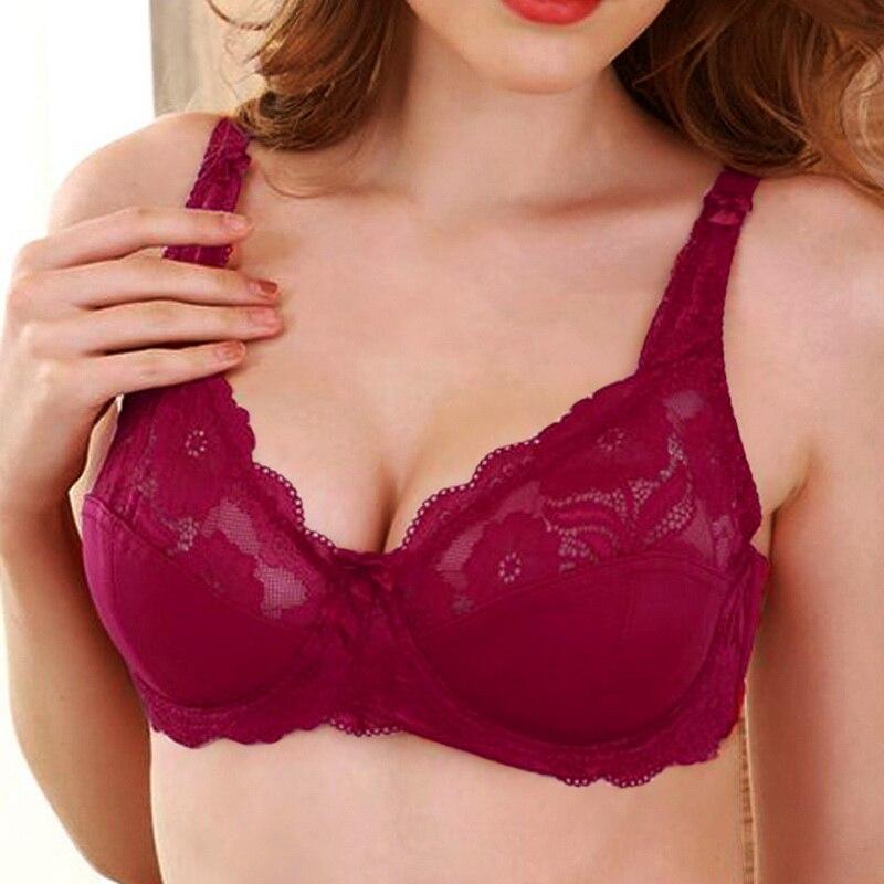 2020 Women's Ultra Thin Bra Full Coverage Sexy Soft Underwire Lace Padded Brassiere Women Bra Plus Size C D