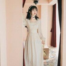 Новая модная женская одежда винтажное платье с квадратным воротником женское платье