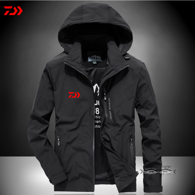 Daiwa Thick Fishing Jacket Men Autumn Winter Solid Thermal Running Outdoor Fishing Clothes Breathable Zipper Pocket Jerseys