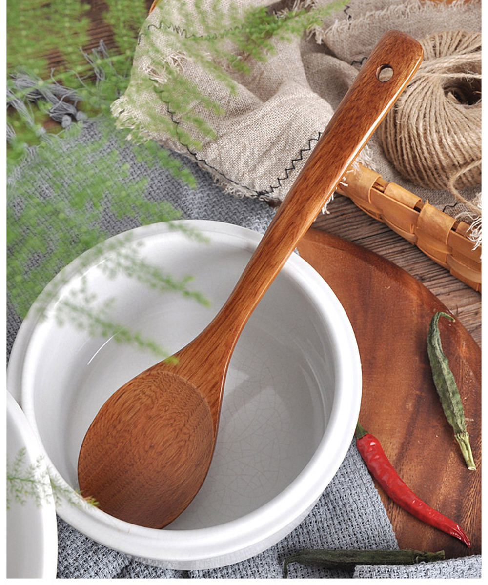 Long Wooden Cooking Rice Spatula Scoop Kitchen Utensil Non-stick Hand Wok Shovel