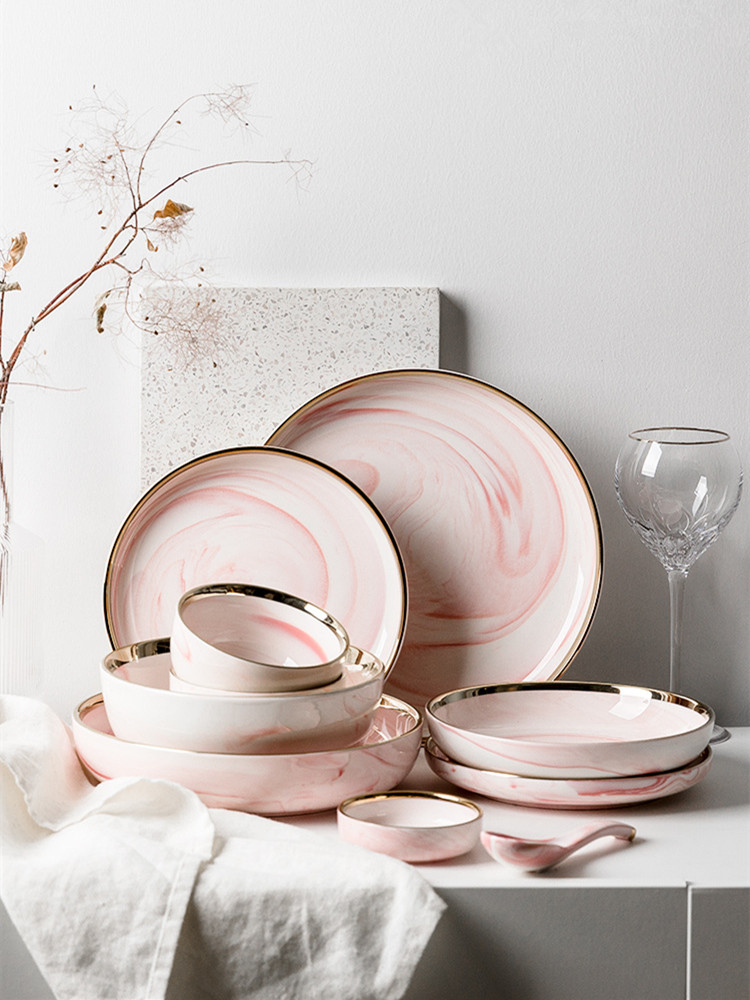 Pink Marble Dinner Plate Set Ceramic Kitchen Plate Tableware Set Food Dishes Rice Salad Noodles Bowl Soup Kitchen Cook Tool 1pc Dishes Plates Aliexpress