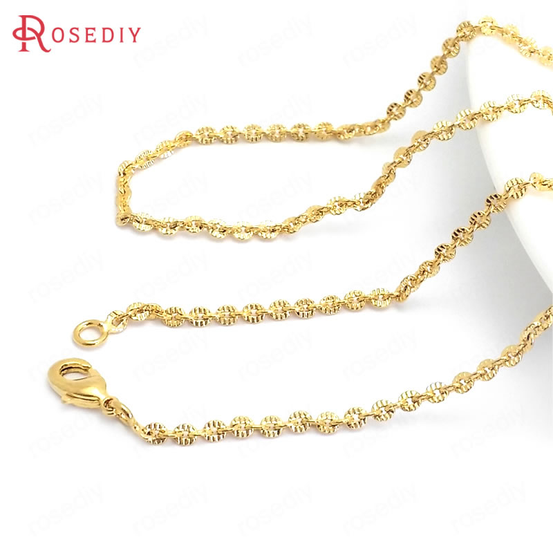 (37964)2PCS Full Length 49CM 24K Gold Color Copper With Lobster Clasps Finished Necklace Chains Jewelry Making Supplies