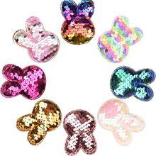240PCS Bunny Glitter Bows Baby Meisjes Haar Accessoires voor Hoofddeksels Sequin Kids Haar Accessoires DIY Headwrap Geen Hairclip