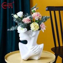 Ceramic Human Body Vase For Flowers Decorative White Head Decoration Home Living Room Accessories Unique Flower Planter Pot