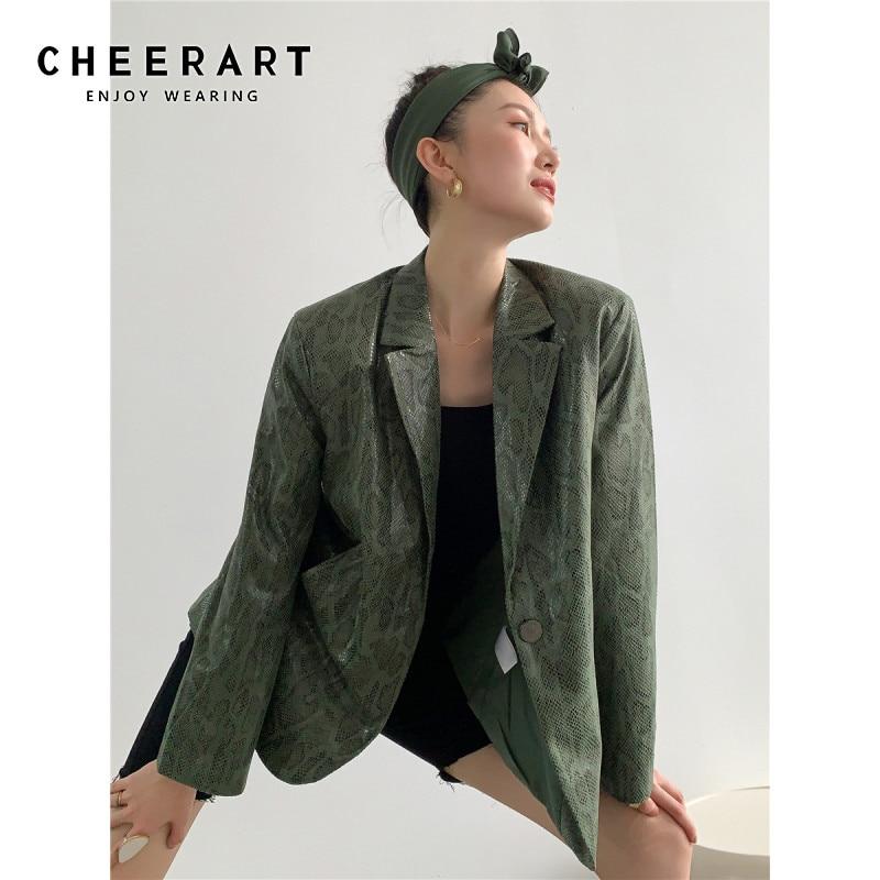 CHEERART Green Leather Blazer Snake Skin Jacket Women Faux Leather Coats And Jackets Fall 2020 Fashion Women Clothing
